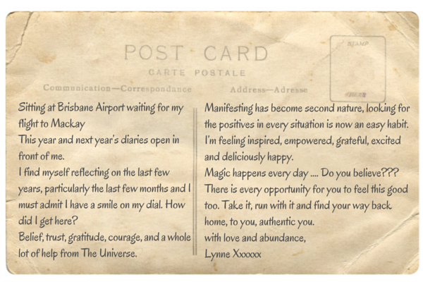 Postcard from Lynne Rivero